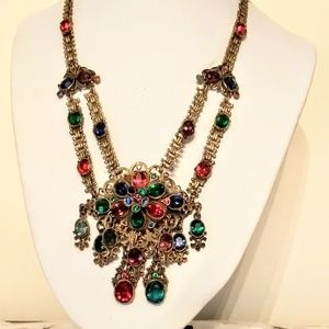Jewelry - Vintage 1940s multicolored rhinestone choker